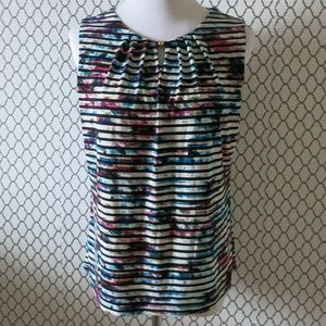 IVANKA TRUMP Printed Stripe Top Blouse Size Medium